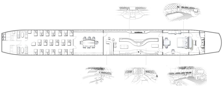 vip completions private jet interior design