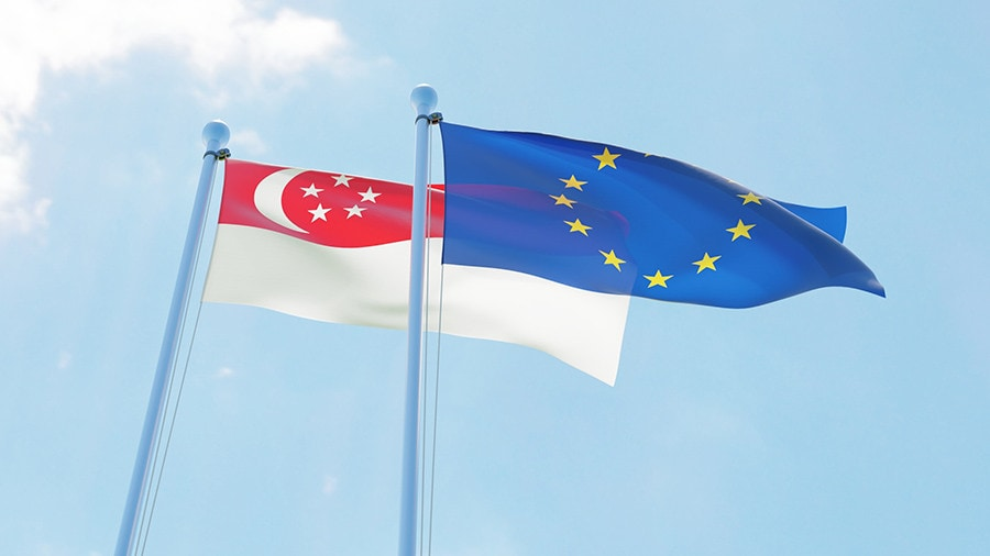 eu and singapore flags