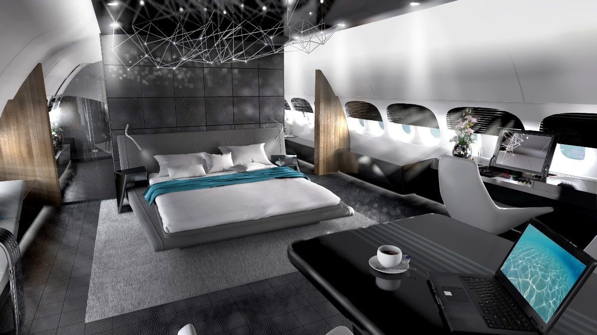 Private Jet Interior Design Render